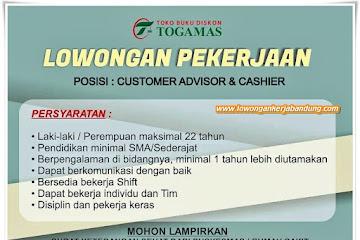 Loker Bandung Customer Advisor & Cashier Togamas