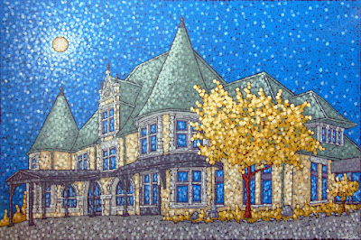 Autumn at the Depot painting by duluth artist aaron kloss, painting of the depot, depot at night, depot full moon, duluth art institute