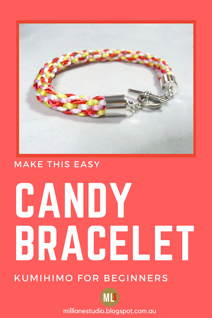 Learn how easy it is to make an 8-strand Kumihimo Braid and turn it into a colourful bracelet with this step-by-step tutorial.