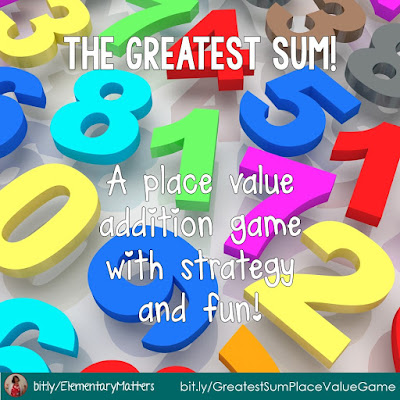 The Greatest Sum - an Addition Game with Strategy and Fun! This place value game practices adding 2-4 digit numbers (with or without regrouping) with many variations!