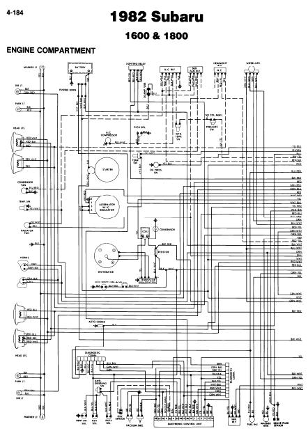 Subaru 1600 1800 1982 Wiring Diagrams