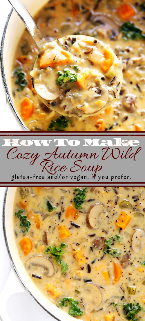 Cozy Autumn Wild Rice Soup #vegan #vegetarian #soup #breakfast #lunch