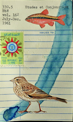 iraq postage stamp studes et conjecture library card sparrow bird fish Dada Fluxus mail art collage