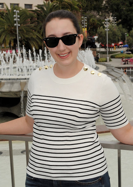 style, Samantha Chic, leather jacket, HM, short sleeve sweater, American Eagle, AEO, bootcut jeans, Target, booties, ray-ban, wayfarer sunglasses, Kate Spade, Downtown LA, Los Angeles, Bookfest, Grand Park