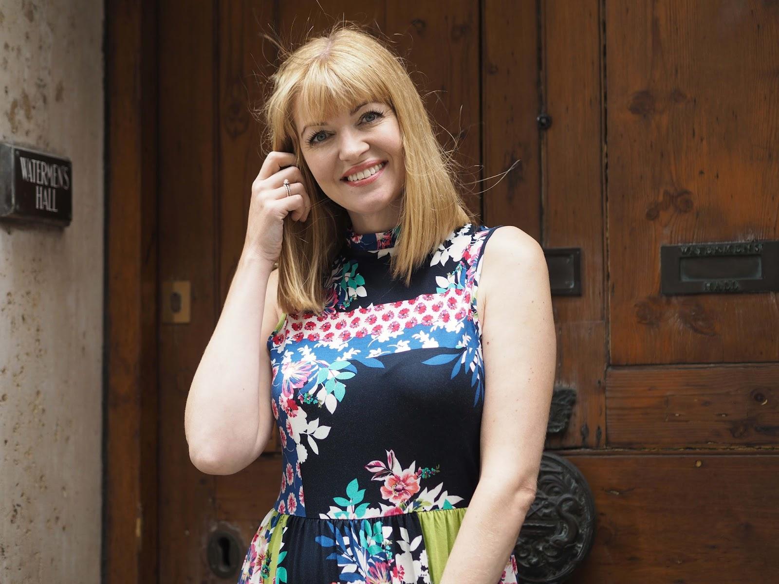 Multi-coloured floral ruffle dress. Fashion over 40