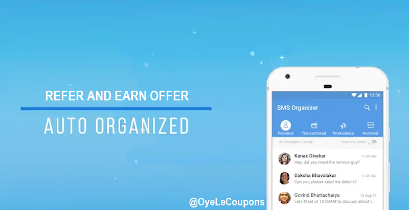 SMS Organizer App Referral Offer: Refer & Earn Free Amazon Vouchers
