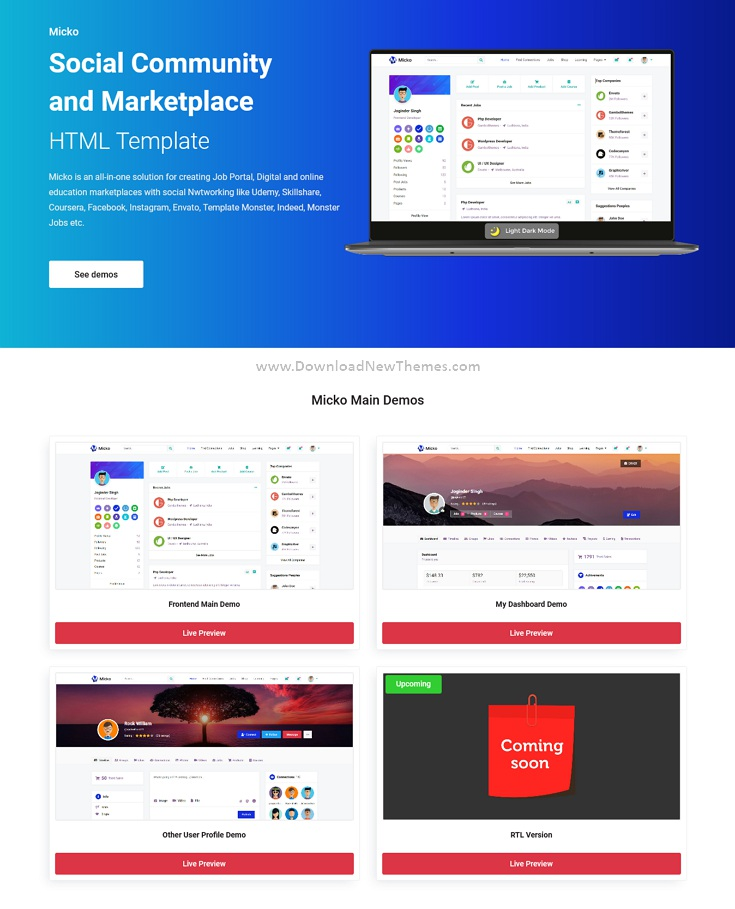 Social Community and Marketplace Bootstrap Template