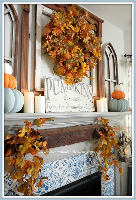 Farmhouse Cottage Fall Fireplace Mantel-From My Front Porch To Yours