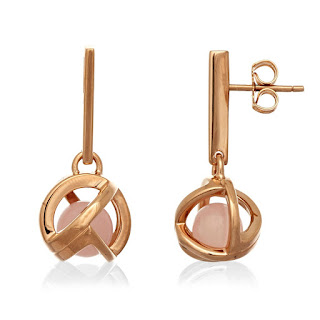 PLANETARIA 12 DROP STUDS - STERLING SILVER PLATED IN ROSE GOLD WITH A ROSE QUARTZ BEAD