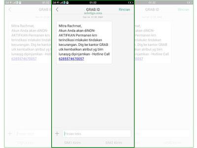 SMS Putus Mitra GRAB ID
