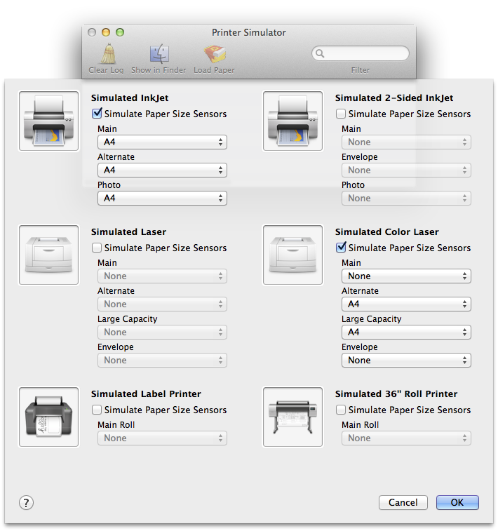 Different type of printers available as simulators IOS