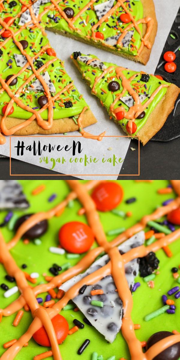 Halloween Sugar Cookie Cake Recipe #halloweenrecipes