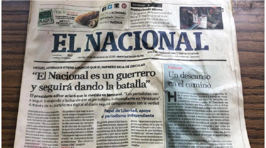 Última edición del diario venezolano El Nacional de diciembre de 2018, en Caracas / VOA