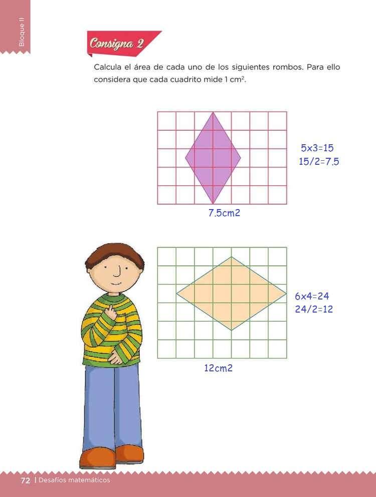 El romboDesafíos MatemáticosQuinto gradoContestado consigna 2