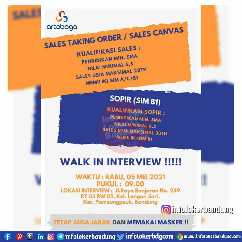 Walk In Interview PT. Artaboga Cemerlang Banjaran & Rancaekek 05 - 06 Mei 2021