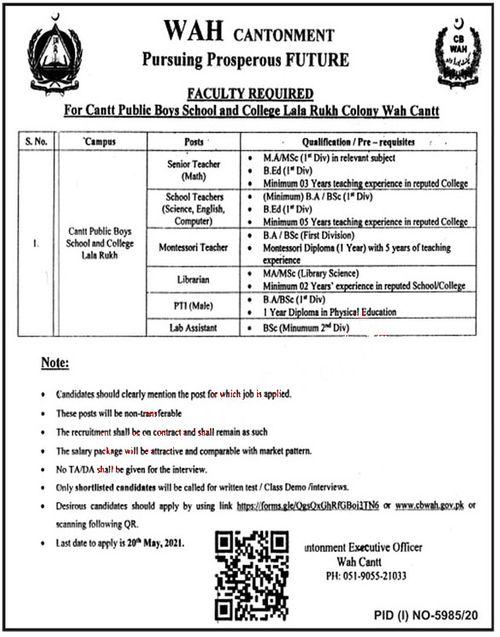 Wah Cantt Public Boys School Latest Jobs 2021
