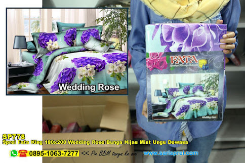 Sprei Fata King 180x200 Wedding Rose Bunga Hijau Mint Ungu Dewasa