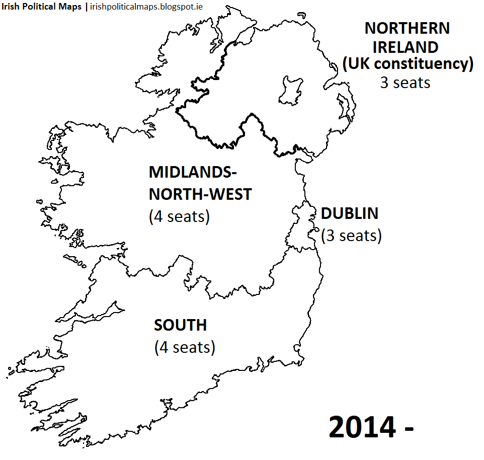 Map Of North And South Ireland.Irish Political Maps European Parliament Constituencies In Ireland
