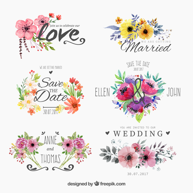 Set of watercolor floweryfor wedding Free Vector