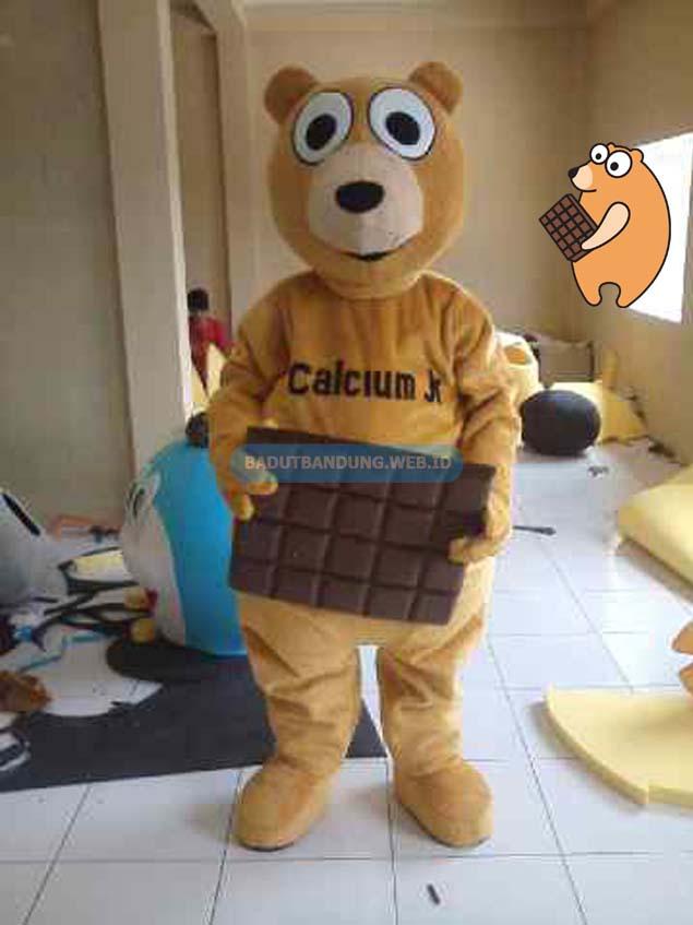 Desain badut beruang maskot calcium jr