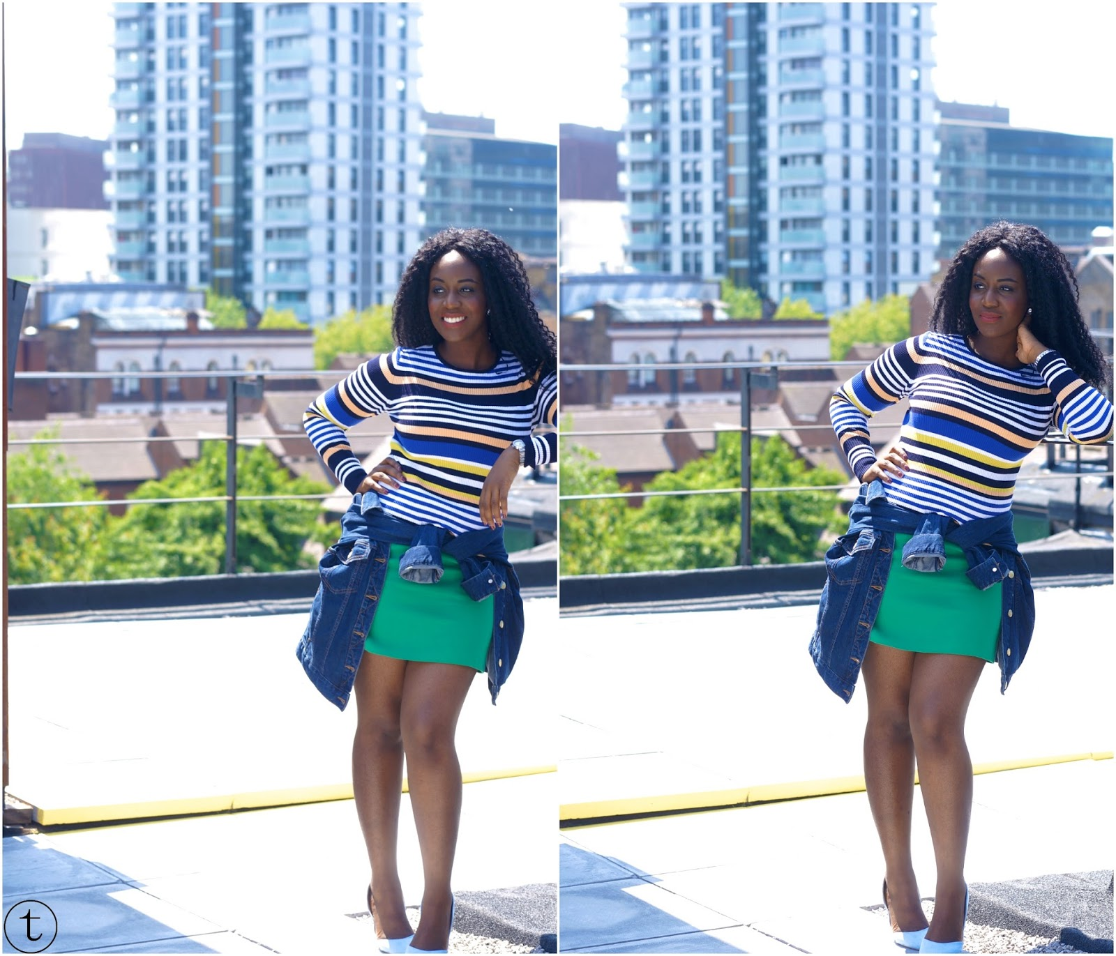 outfit post wearing jeans jacket and green skirt from zara east london