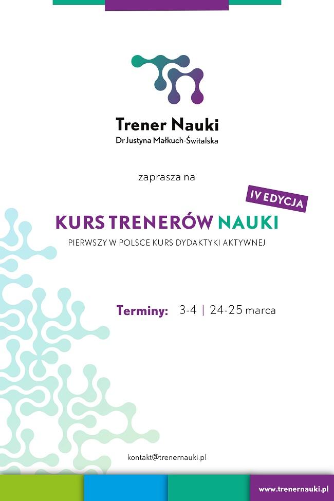 IV edycja Kursu Trenerów Nauk - plakat reklamowy