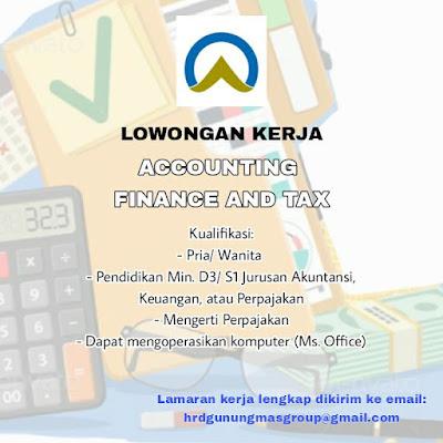 Lowongan Kerja Gunungmas Group Sebagai Accounting Finance and Tax