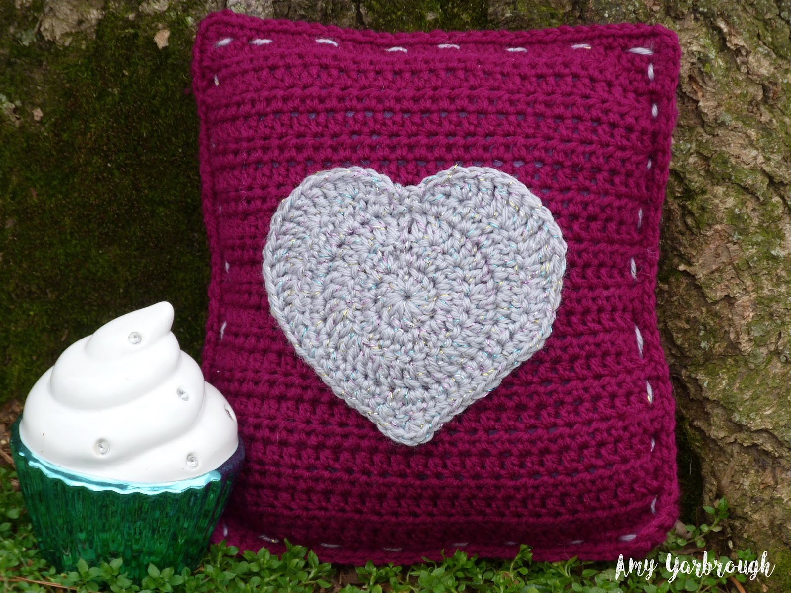 Glitzy Heart Mini Pillow New Crochet Pattern Ginger Peachy