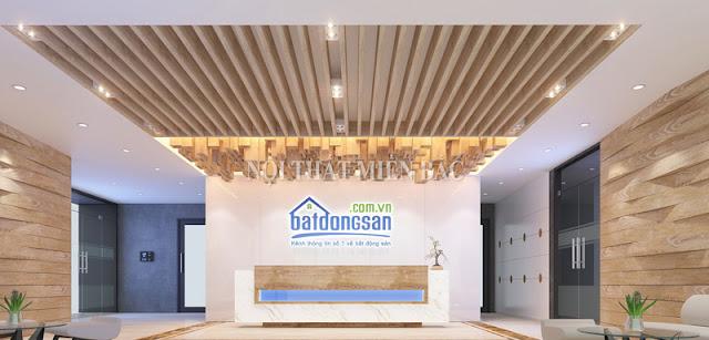 Quầy lễ tân thật độc đáo với những thiết kế gỗ ấn tượng như mang đến cho thiết kế nội thất văn phòng sự chuyên nghiệp, sang trọng nhất