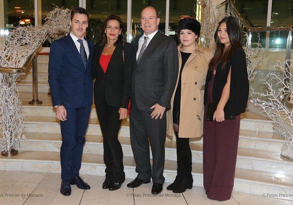 Princess Stephanie, Prince Albert, Camille Gottlieb and Louis Ducruet. Stephanie wore Chanel pantsuit and red top