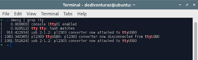 Cek port console di linux dengan dmesg