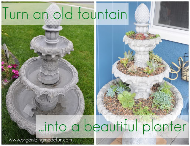 Turn and old fountain into a beautiful planter :: OrganizingMadeFun.com