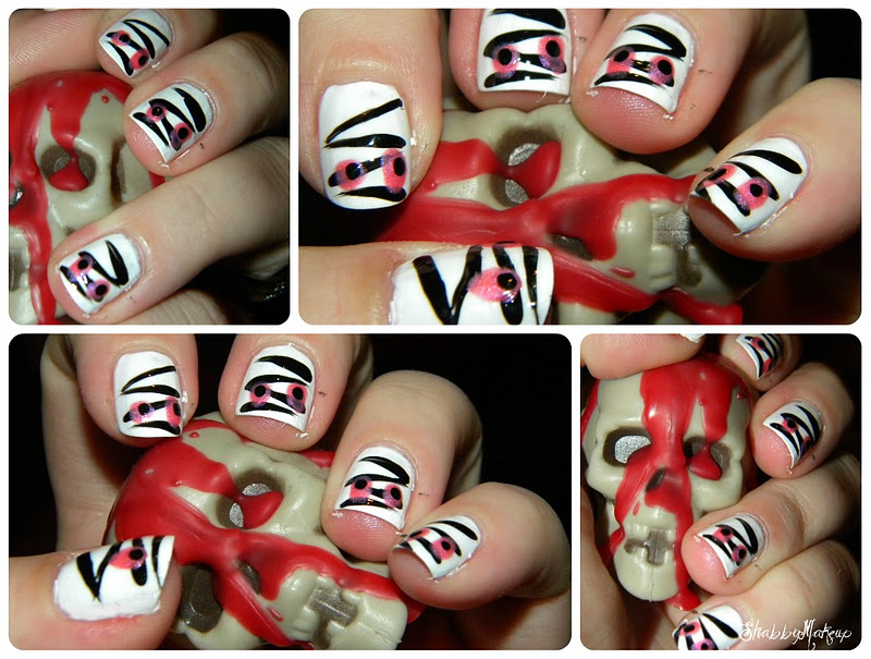Shabby Makeup and More: Halloween Nails- Mummy