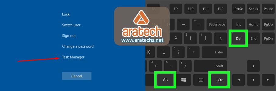 www.aratechs.net - فتح مدير المهام taskmanager