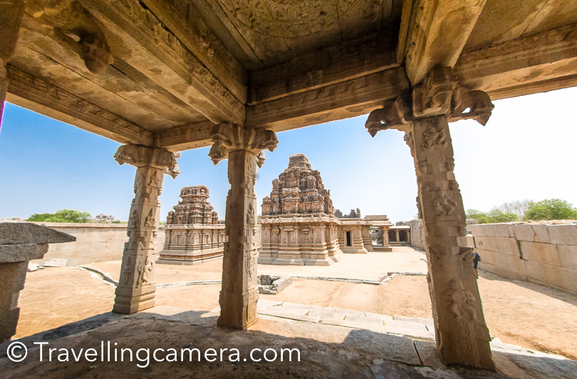 Most of the structures of Vajayanagara were made up of sandal wood, which don't exist now and so only stone structures can be seen, which were usually the base of any palace or watchtower.