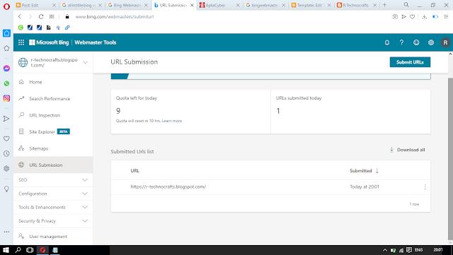 bing webmaster tools submit url