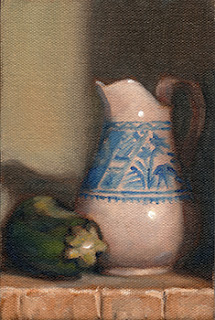 Oil painting of a zucchini beside a white porcelain jug with a blue design.