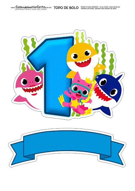 Fiesta de Baby Shark con el número 1: Toppers para Tartas, Bizcochos o Pasteles para Imprimir Gratis.