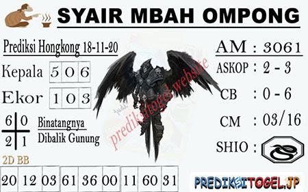 Syair Mbah Ompong HK Rabu 18 November 2020