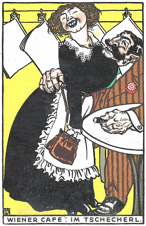 a 1911 Wiener Werkstätte greeting card by Moriz Jung, groping and smiling