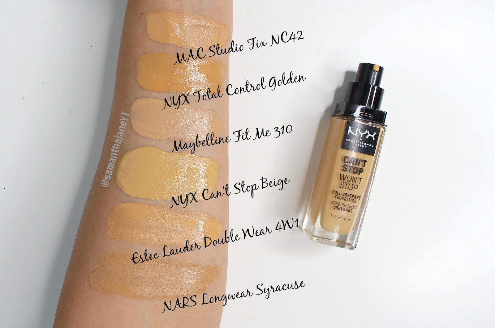 Samantha Jane: NYX Cant Stop Wont Stop Foundation Shade Comparisons