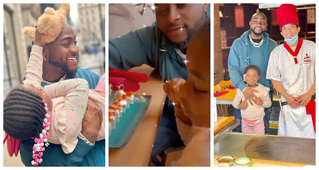 Lovely moment as Davido and his daughter, Imade  go on a Private date in UK (Video)