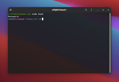 cara masuk root linux terminal
