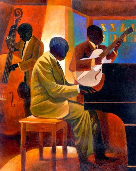 Homem no Piano - Keith Mallett e suas pinturas cheias de charme