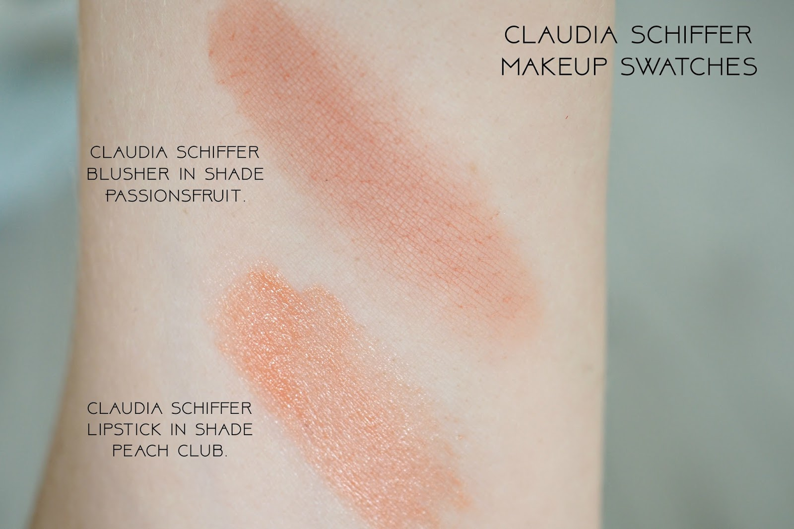 Claudia Schiffer Compact Blusher shade 22 - Passionfruit swatch and lipstick in shade 180 Peach Club swatch