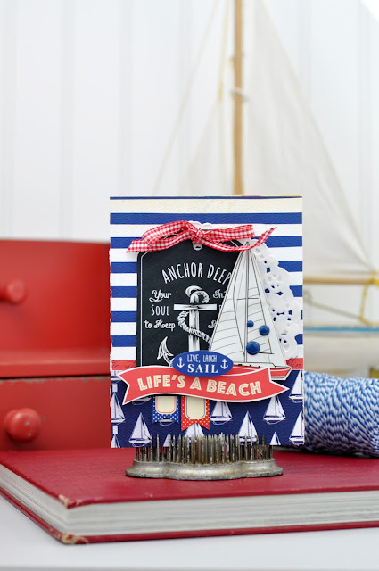 Nautical card with papers and stickers from Carta Bella Paper. Created by Jen Gallacher on www.jengallacher.com. #cardmaking