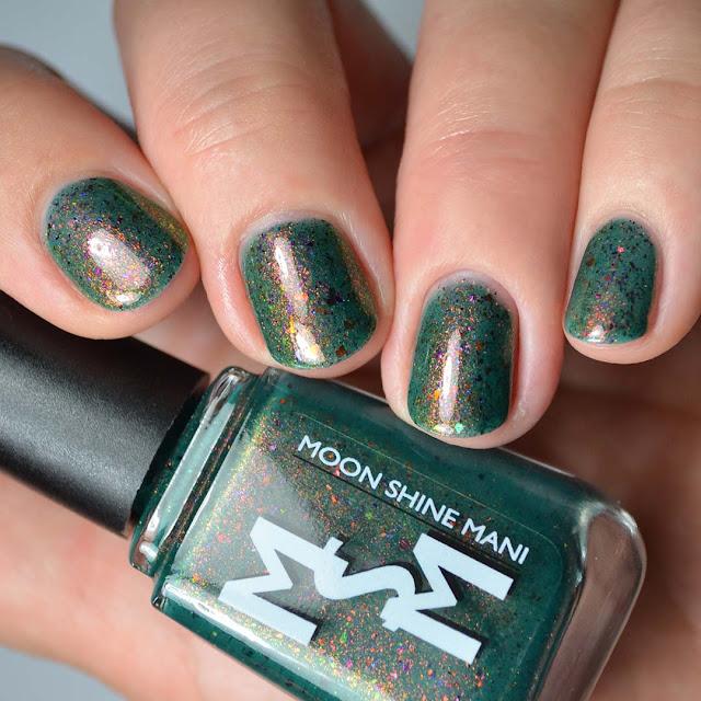 green nail polish with color shifting shimmer swatch