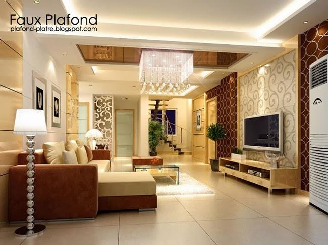 derniers id es mod les de faux plafond pour les salons faux plafond platre suspendu et tendu. Black Bedroom Furniture Sets. Home Design Ideas