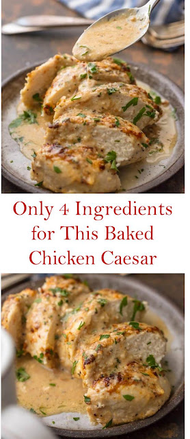 Only 4 Ingredients for This Baked Chicken Caesar  #thecookierookie #chicken #chickenrecipes #bakedchicken #4ingredients #chickencaesar