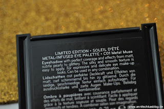 Review: CATRICE LE -  Soleil d'été - Sommer für die Haut! - Metal-Infused Eye Palette - www.annitschkasblog.de